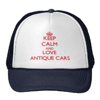 Mantenha a calma e ame carros antigos boné