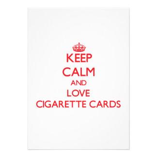 Mantenha a calma e ame cartões do cigarro convite personalizados