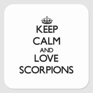Mantenha a calma e ame escorpião adesivo quadrado