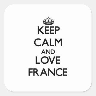 Mantenha a calma e ame France Adesivo Quadrado