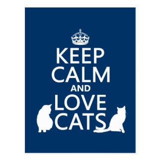 Mantenha a calma e ame gatos cartão postal