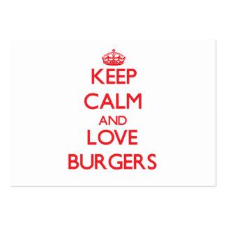 Mantenha a calma e ame hamburgueres cartão de visita