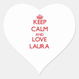 Mantenha a calma e ame Laura Adesivo De Coração