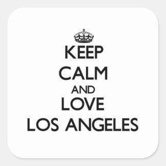 Mantenha a calma e ame Los Angeles Adesivo Quadrado