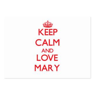 Mantenha a calma e ame Mary Cartão De Visita
