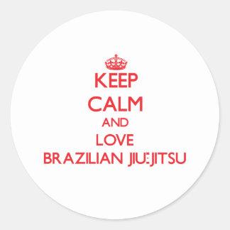 Mantenha a calma e ame o brasileiro Jiu-Jitsu Adesivo