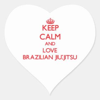 Mantenha a calma e ame o brasileiro Jiu-Jitsu Adesivos Em Forma De Corações