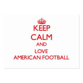 Mantenha a calma e ame o futebol americano cartoes de visitas