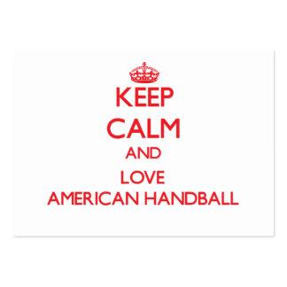 Mantenha a calma e ame o handball americano modelo cartões de visita