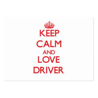 Mantenha a calma e ame o motorista cartoes de visita