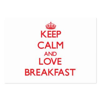 Mantenha a calma e ame o pequeno almoço cartoes de visitas