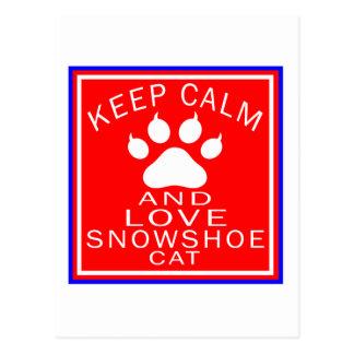Mantenha a calma e ame o sapato de neve cartão postal