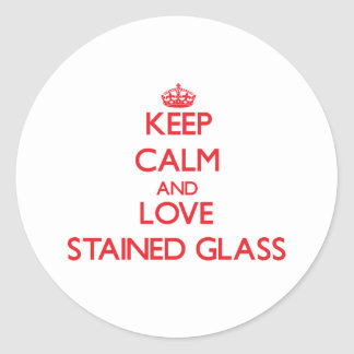 Mantenha a calma e ame o vitral adesivo em formato redondo
