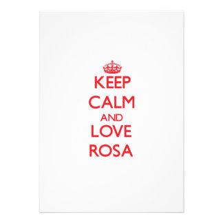 Mantenha a calma e ame Rosa Convites Personalizados