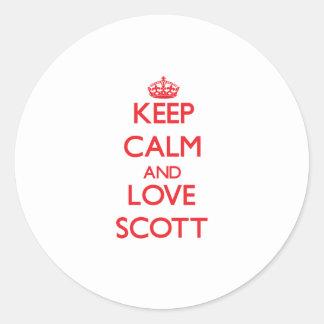 Mantenha a calma e ame Scott Adesivos