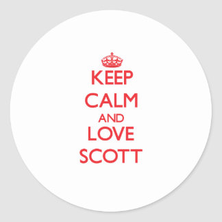 Mantenha a calma e ame Scott Adesivo Em Formato Redondo