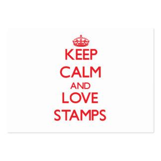 Mantenha a calma e ame selos cartoes de visitas