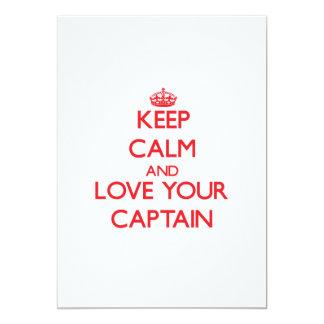 Mantenha a calma e ame seu capitão convites personalizado
