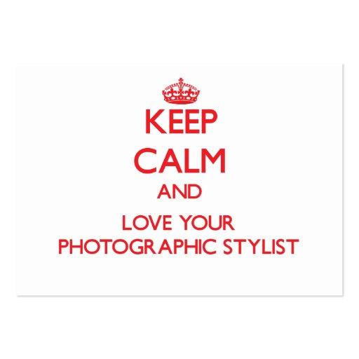 Mantenha a calma e ame seu estilista fotográfico modelo cartões de visitas