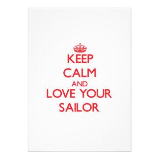 Mantenha a calma e ame seu marinheiro convite personalizado
