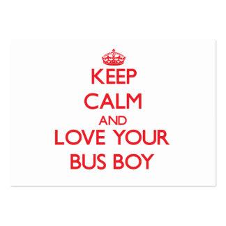 Mantenha a calma e ame seu menino de ônibus cartao de visita