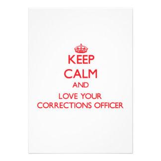 Mantenha a calma e ame seu oficial de correções convites