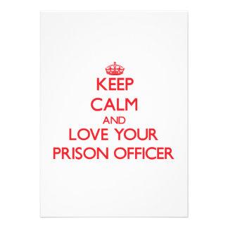 Mantenha a calma e ame seu oficial de prisão convites personalizado