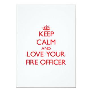 Mantenha a calma e ame seu oficial do fogo convite 12.7 x 17.78cm
