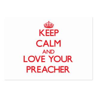 Mantenha a calma e ame seu pregador cartão de visita grande