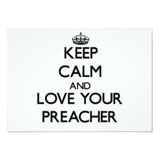 Mantenha a calma e ame seu pregador convites personalizado