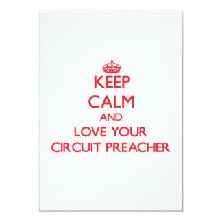 Mantenha a calma e ame seu pregador do circuito convite 12.7 x 17.78cm
