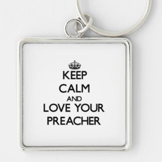 Mantenha a calma e ame seu pregador chaveiro quadrado na cor prata