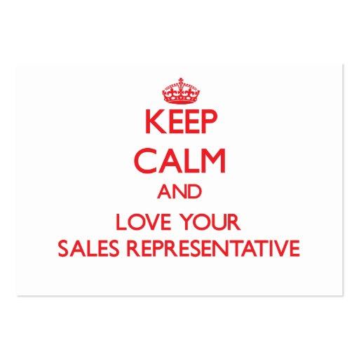 Mantenha a calma e ame seu representante de vendas modelo cartao de visita