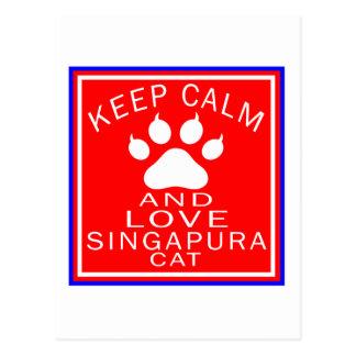 Mantenha a calma e ame Singapura Cartão Postal