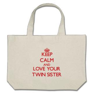 Mantenha a calma e ame sua irmã gêmea bolsa