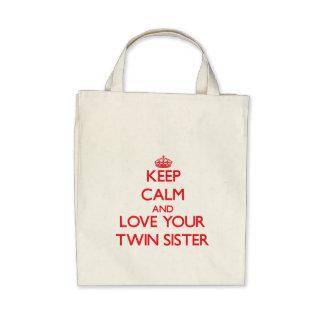 Mantenha a calma e ame sua irmã gêmea bolsas de lona