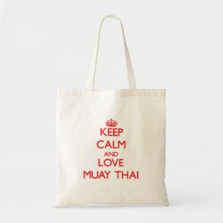 Mantenha a calma e ame tailandês de Muay Sacola Tote Budget