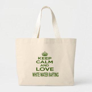Mantenha a calma e ame transportar da água branca bolsa