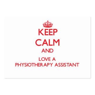 Mantenha a calma e ame um assistente da fisioterap modelo cartao de visita