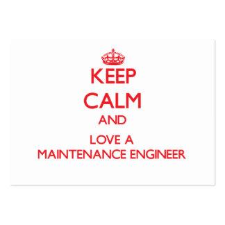 Mantenha a calma e ame um engenheiro da manutenção cartão de visita