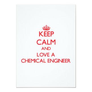 Mantenha a calma e ame um engenheiro químico convite personalizados
