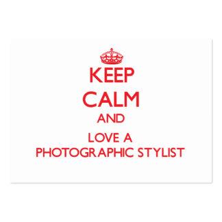 Mantenha a calma e ame um estilista fotográfico cartão de visita