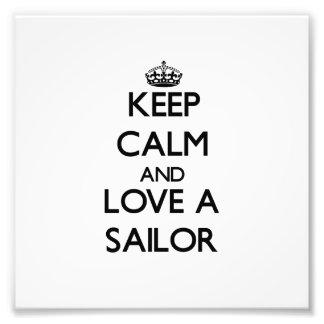 Mantenha a calma e ame um marinheiro foto arte