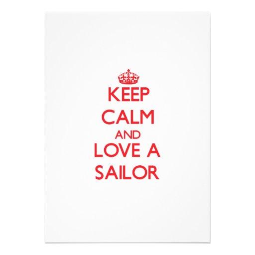 Mantenha a calma e ame um marinheiro convite personalizados