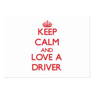 Mantenha a calma e ame um motorista cartoes de visitas