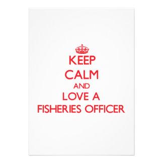 Mantenha a calma e ame um oficial da pesca convite personalizados