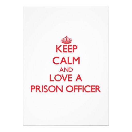 Mantenha a calma e ame um oficial de prisão convites personalizado