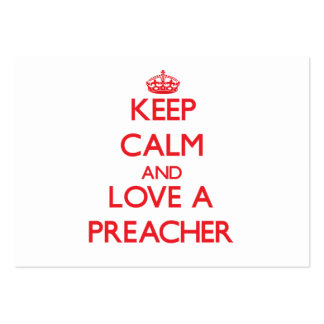 Mantenha a calma e ame um pregador cartão de visita grande