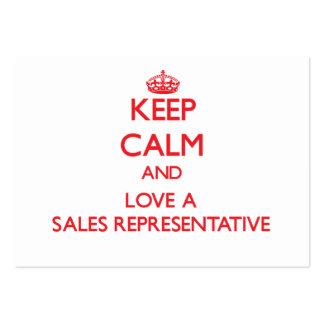 Mantenha a calma e ame um representante de vendas cartão de visita