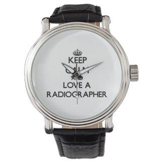 Mantenha a calma e ame um técnico de radiologia relógio
